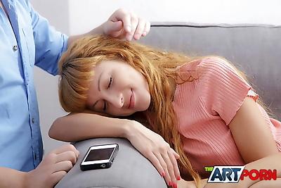 Sleeping redhead Janette is..