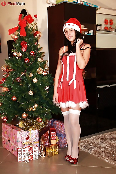 Cute teen babe in christmas..